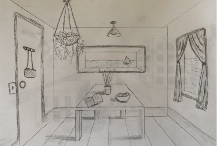 One point perspective sketch of a room. Shadows and angles to create an effect of a real room.