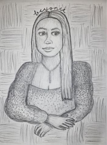 Beyonce posed as the Mona Lisa.
