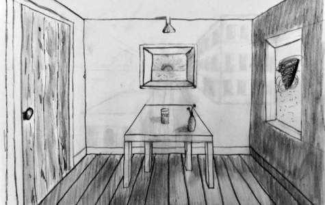 One point perspective sketch of a room. The calm stillness inside while the chaos awaits outside.