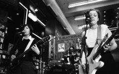 Sleater-Kinney, a popular Riot Grrrl band, perform at Tower Records in 1997.