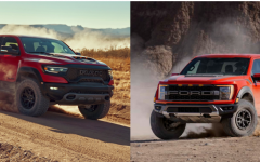 A side by side comparison of the Ram TRX and the Ford Raptor.