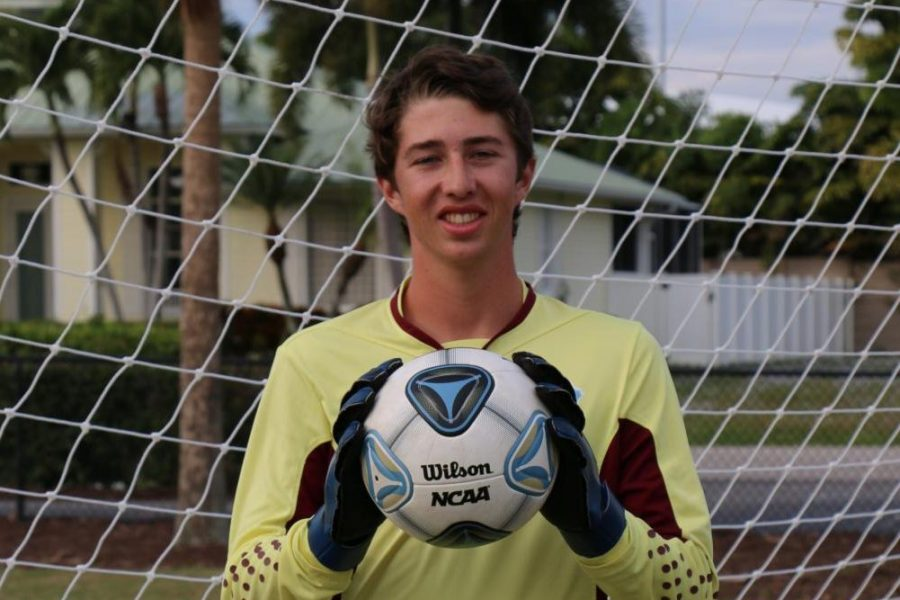 Tyler Chute, the goalie for Marco Island Academy's boys soccer team.