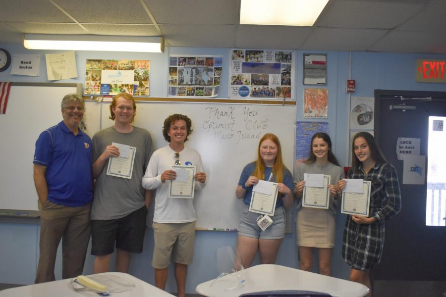 OCMI Essay Contest winners pose with their teacher, Mr. Scalia, from left to right: Keagan Hallock, Ryan Miner, Riley Letendre, Abigail Gallup, Haylen Irvan.